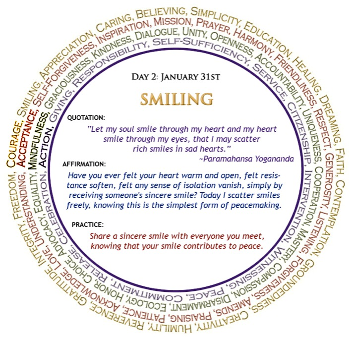 Season of Non-Violence Day 2: Smiling - steph marks